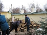Заготовка дров во дворе Свято-Вознесенского храма г.Александровска