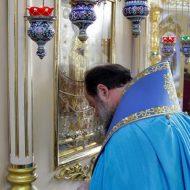 Владыка Митрофан пред образом Божией Матери Луганская