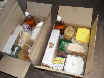 Наборы продуктов от горсовета и Шахтинской епархии (Ростовская область)