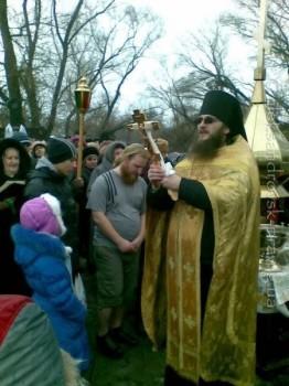 Иеромонах Алексий Дмитренко отслужил водоосвятный молебен